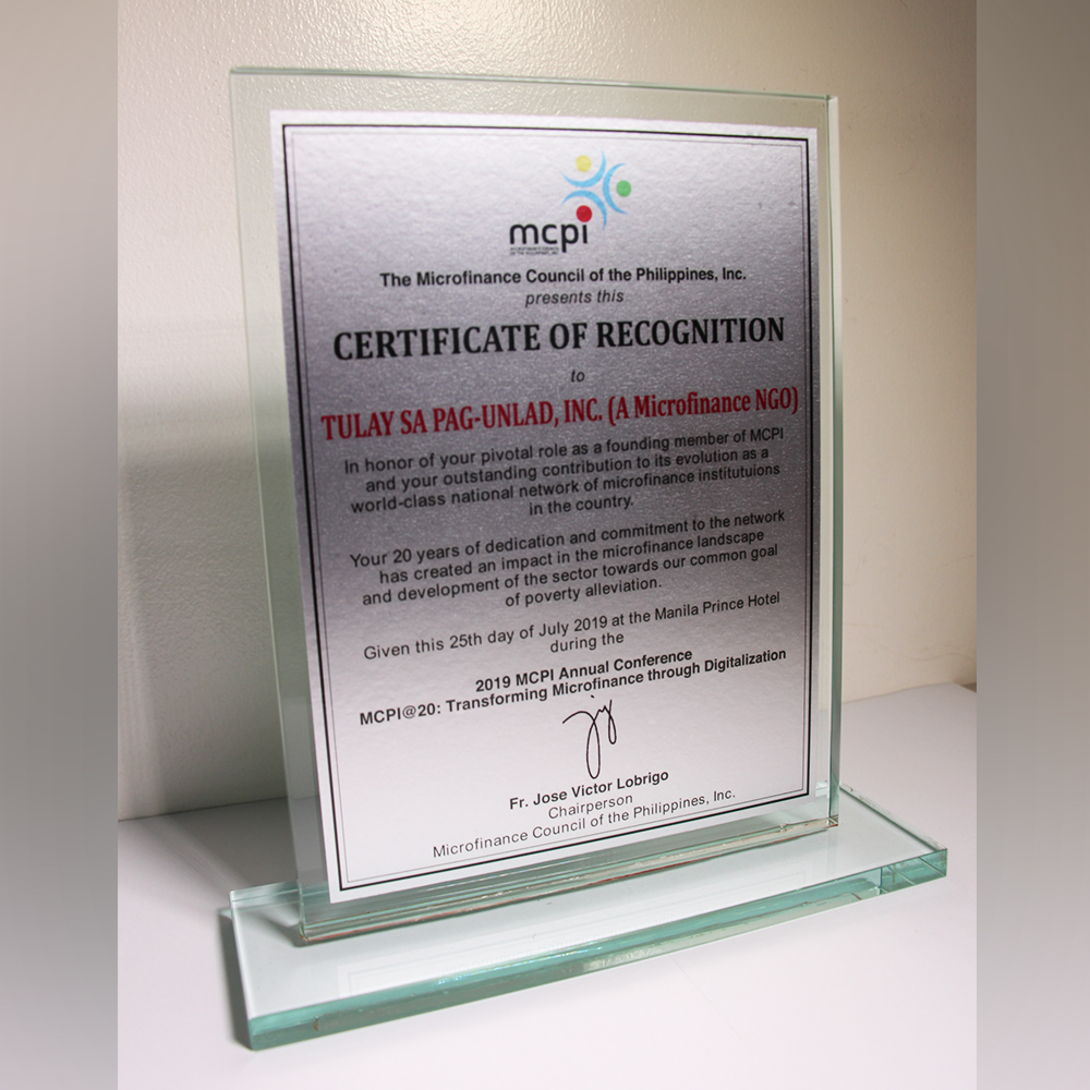 Certificate of Recognition from Microfinance Council of the Philippines, Inc. (MCPI)