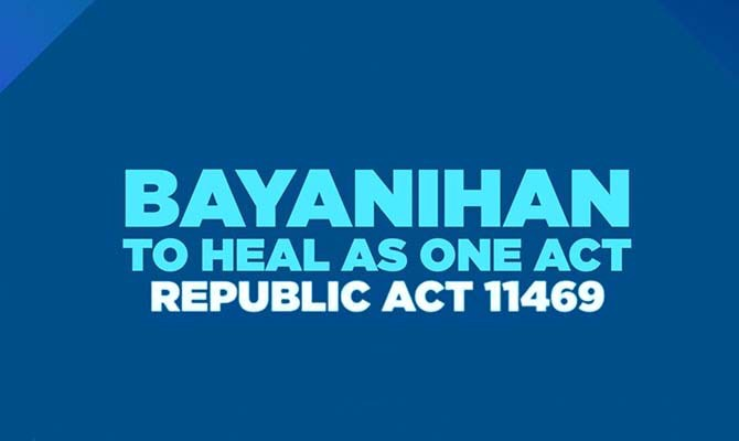 BAYANIHAN TO RECOVER AS ONE ACT